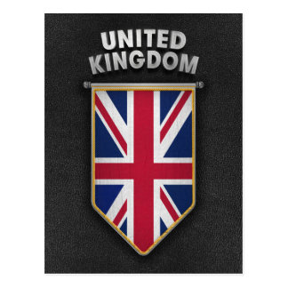 UK Pennant with high quality leather look Postcard