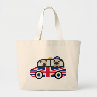 UK Pugs in a Taxi - customize Large Tote Bag