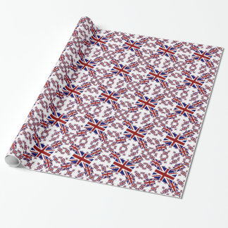 UK Union Jack Flag in Layers Askew Wrapping Paper