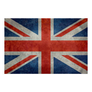 UK Union Jack Flag in retro style vintage textures Poster