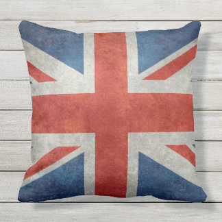 UK Union Jack Flag in retro style vintage textures Throw Pillow