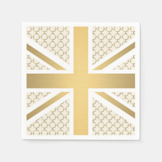 UK Union Jack Flag with Gold Equestrian Pattern Paper Napkin