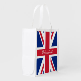 UK Union Jack Personalized Flag Reusable Grocery Bag