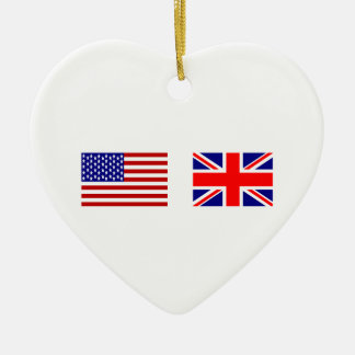 UK & USA Flags Side by Side Ceramic Ornament