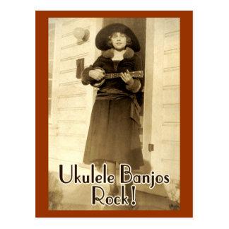 Uke Banjos Rock Postcard