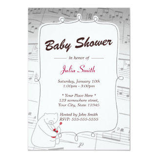 Uke Bear Music Notes Baby Shower Invitations