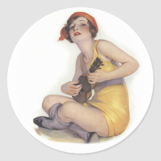 Uke Playing Flapper Round Sticker