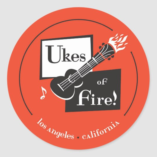 Ukes of Fire! Los Angeles Classic Round Sticker