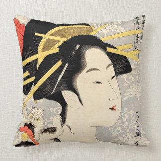 Ukiyo-e Geisha Throw Pillow