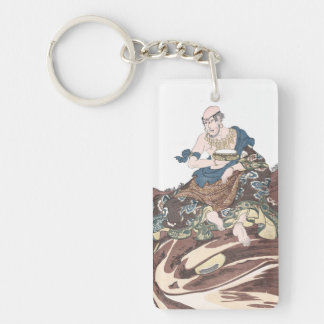 Ukiyo-e Immortal Buddhist Monk on a Toads Head Keychain