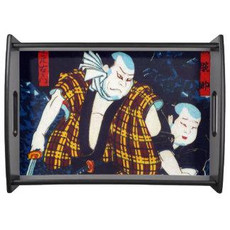 Ukiyo-e Japanese Painting Of Two Kabuki Players Serving Tray