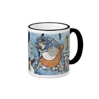 Ukiyo-e print - Frogs as Japanese Kabuki actors Ringer Coffee Mug