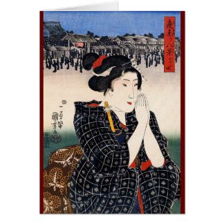 Ukiyo-e Woodblock Art - Geisha in Prayer Card
