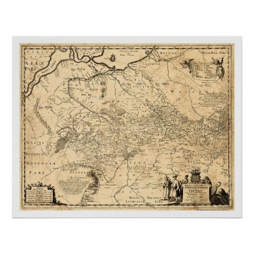 Ukraine Early Map 1648 Poster