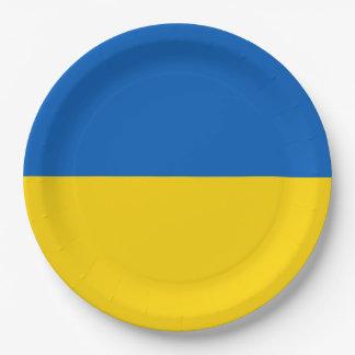 Ukraine Flag 9 Inch Paper Plate