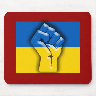 UKRAINE FLAG and FIST for Solidarity Mouse Pad