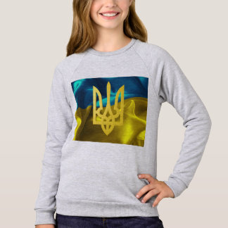 Ukraine Flag and Tryzub Girls' Sweat Shirt