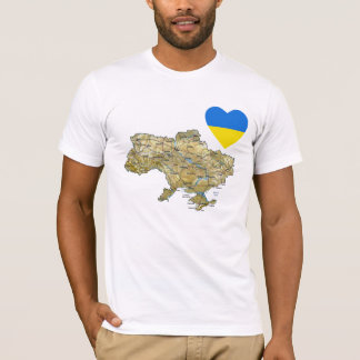 Ukraine Flag Heart and Map T-Shirt