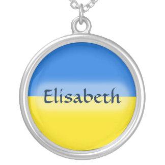 Ukraine Flag + Name Necklace