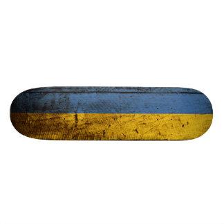 Ukraine Flag on Old Wood Grain Custom Skateboard