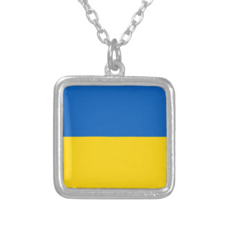 Ukraine Flag Silver Plated Necklace