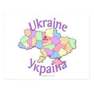 Ukraine Map Postcard