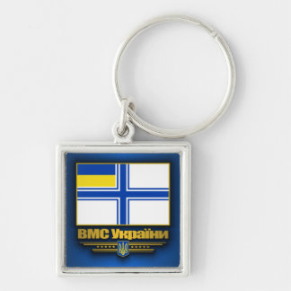 Ukraine Naval Ensign Silver-Colored Square Keychain