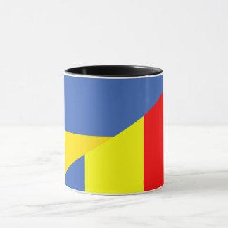 ukraine romania flag country half symbol mug