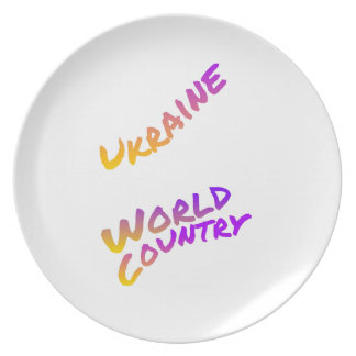 Ukraine world country, colorful text art dinner plate