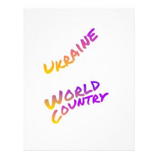 Ukraine world country, colorful text art letterhead
