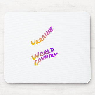 Ukraine world country, colorful text art mouse pad