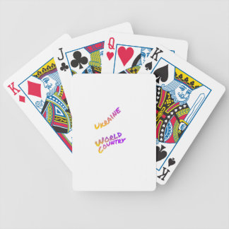 Ukraine world country, colorful text art poker deck