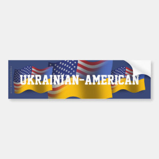 Ukrainian-American Waving Flag Bumper Sticker