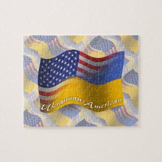 Ukrainian-American Waving Flag Jigsaw Puzzle