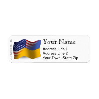 Ukrainian-American Waving Flag Return Address Label