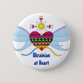 Ukrainian at Heart Ukrainian Folk Art 2 Inch Round Button