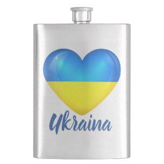 Ukrainian Blue Yellow Heart Flag Hip Flask