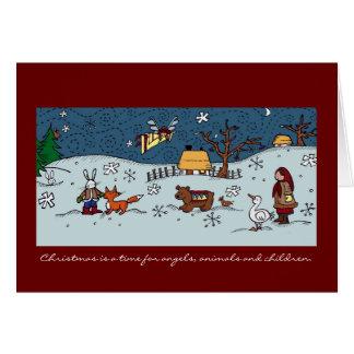 Ukrainian Christmas, Angels, Animals, Children Card