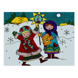 Ukrainian Christmas Carolers Ukrainian Folk Art Postcard