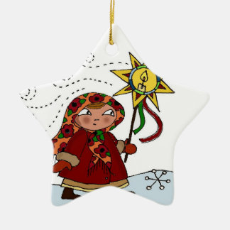 Ukrainian Christmas Star Ceramic Ornament