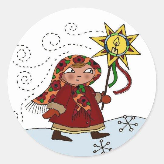 Ukrainian Christmas Star Classic Round Sticker