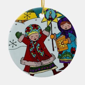Ukrainian Christmas Star Round Ceramic Ornament