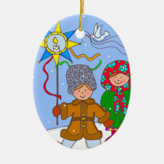 Ukrainian ChristmasCarollers Ceramic Oval Ornament
