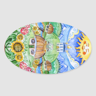 Ukrainian Easter egg Pysanka Oval Sticker