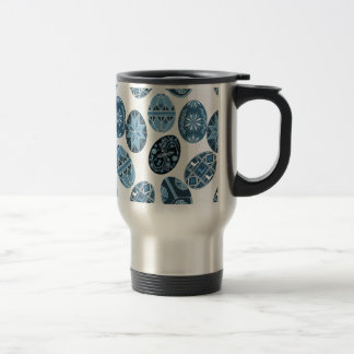 Ukrainian Easter eggs blue pattern Travel Mug