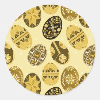 Ukrainian Easter eggs pattern -yellow Round Sticker
