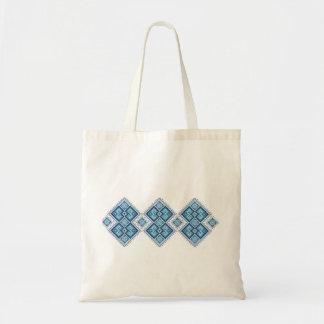 Ukrainian embroidery blue vyshyvanka budget tote bag