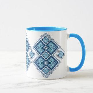 Ukrainian embroidery blue vyshyvanka mug