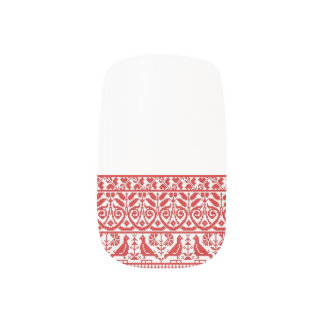 Ukrainian Embroidery Nail Art Red Birds