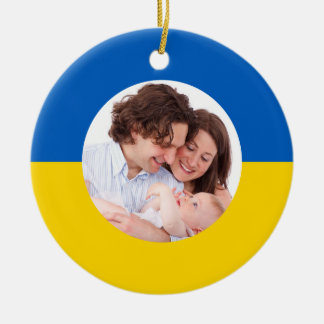 Ukrainian Flag Christmas Photo Ornaments